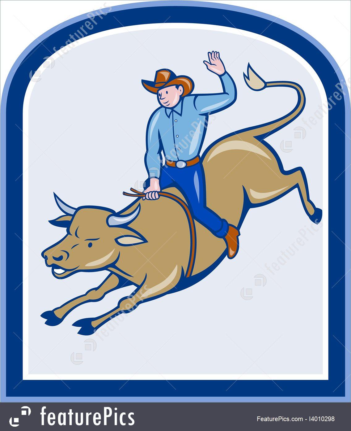 1136x1392 Rodeo Cowboy Bull Riding Cartoon Illustration