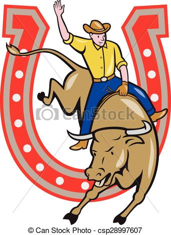 341x470 Rodeo Cowboy Bull Riding Horseshoe Cartoon. Illustration