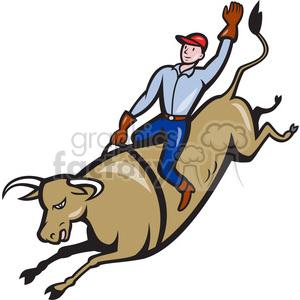 300x300 Royalty Free Bull Riding Cowboy Bucking 390425 Vector Clip Art