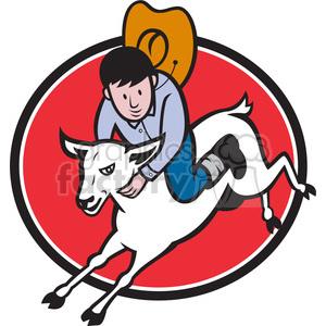 300x300 Royalty Free Rodeo Junior Cowboy Riding Sheep 389997 Vector Clip
