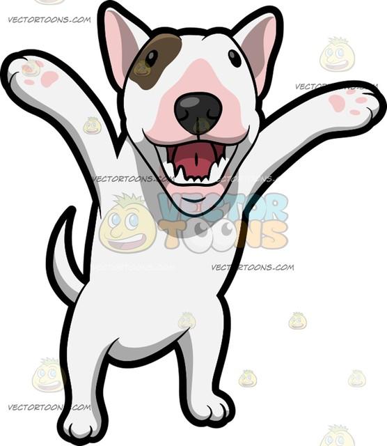 556x640 A Very Happy Bull Terrier Cartoon Clipart Vector Toons