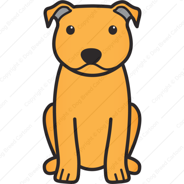 600x600 Staffordshire Bull Terrier Orange Edition Dog Breed Cartoon