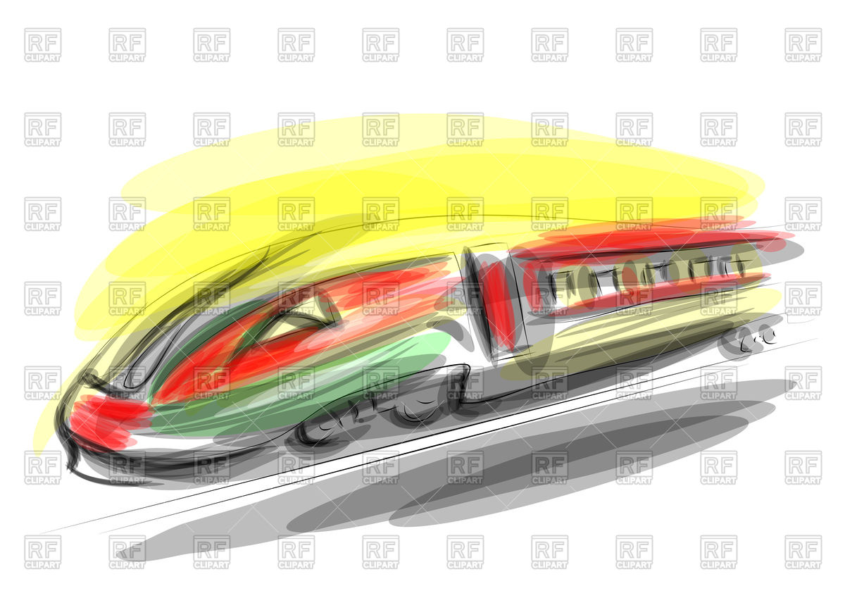 1200x849 High Speed Train Absract Illustration Royalty Free Vector Clip Art
