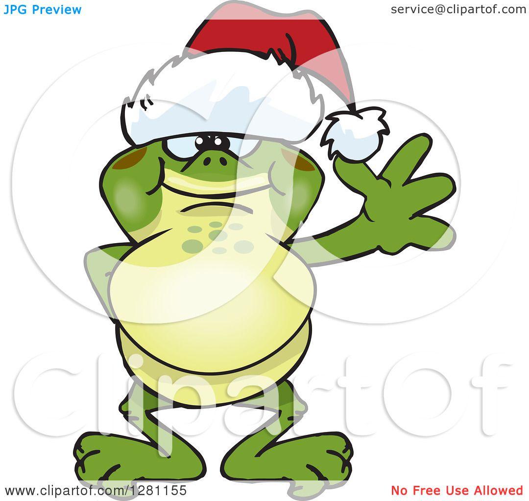 1080x1024 Clipart Of A Friendly Waving Bullfrog Wearing A Christmas Santa