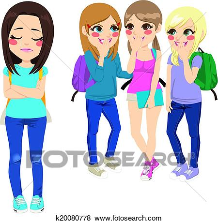 450x461 Bullying Clipart Clip Art Of School Girls Bullying K20080778