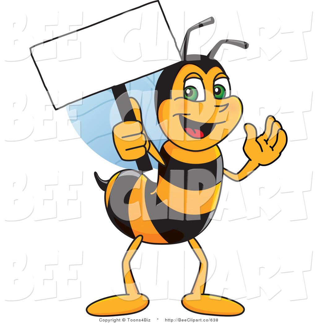 1024x1044 Clip Art Of A Worker Bumble Bee Character Mascot Holding A Small