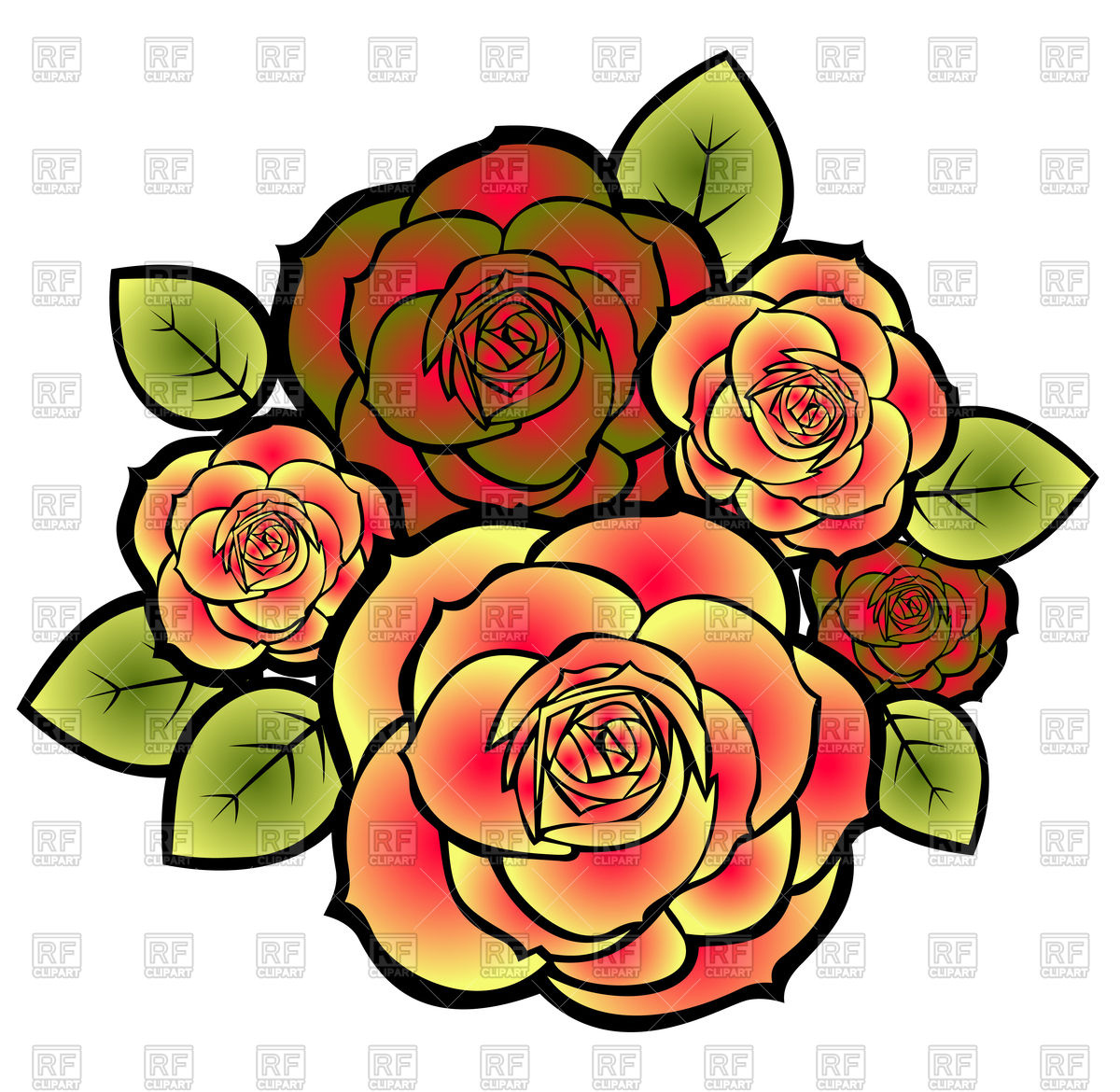 1200x1170 Stylized Roses Bouquet Royalty Free Vector Clip Art Image