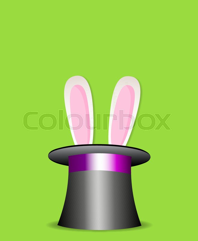 660x800 Magic Trick Rabbit In Black Cylinder Hat. Top Hat With Cute