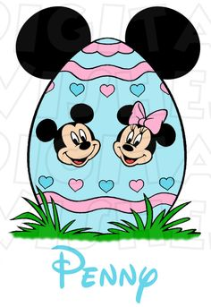 236x343 Mickey Mouse With Blue Easter Bunny Ears Instant Download Digital