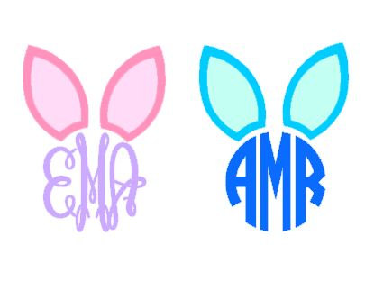 405x312 Monogram Easter Bunny Ears Instant Download Cut File