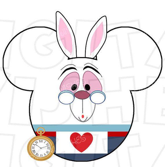 570x580 White Rabbit Mickey Mouse Ears Head Digital Iron On Transfer Clip