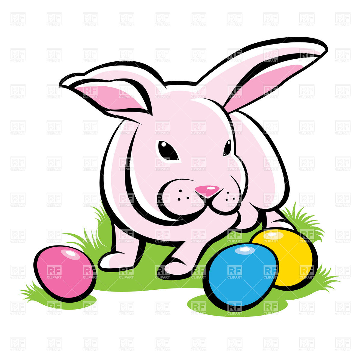 1200x1200 Bunny On The Grass With Easter Eggs Royalty Free Vector Clip Art