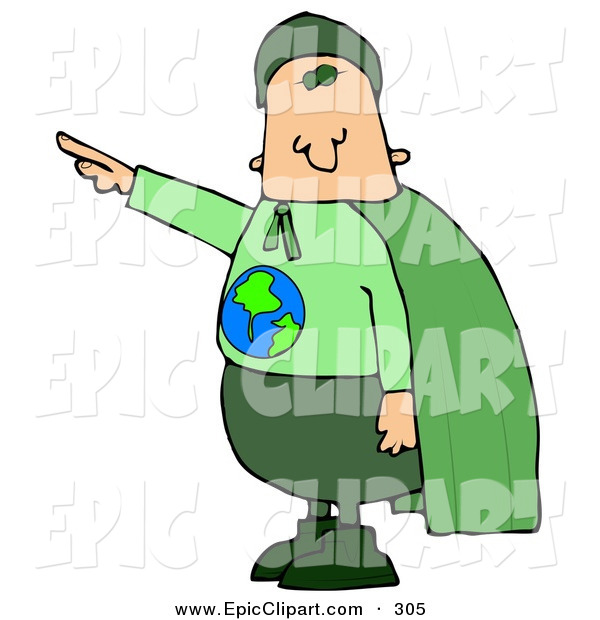600x620 Clip Art Of A Caucasian Environmentalist Man Wearing A Green Cape