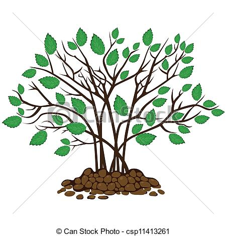 450x470 Bush With Leaves In The Soil, Vector Illustration Clip Art Vector