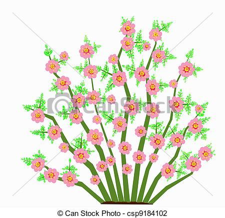 450x435 Painted Abstract Illustration Of A Spring Flowering Bush Clip