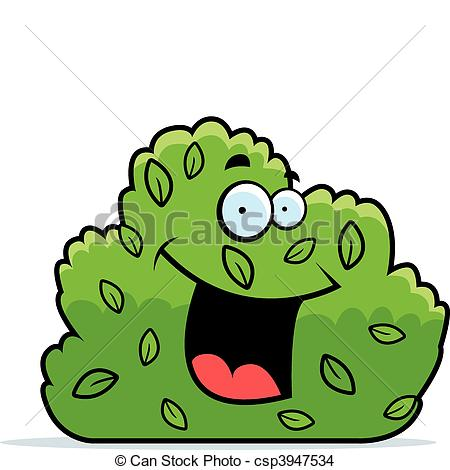 450x470 A Cartoon Green Bush Smiling And Happy. Eps Vector