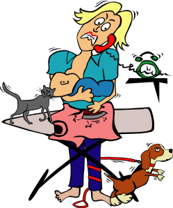 249x298 Busy Mom With Child And Pets Clip Art
