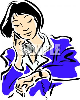 279x350 Busy Woman Checking Her Watch And Talking On The Phone