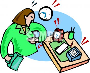 350x286 Busy Working Woman At Her Desk Looking At The Time On Her