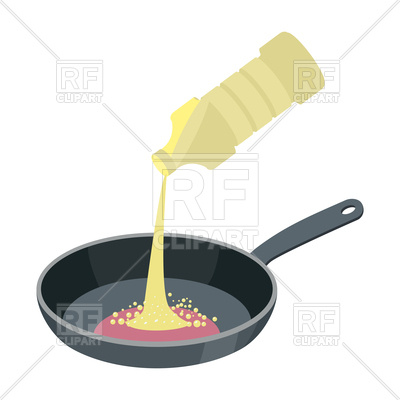 400x400 Frying Pan With Butter Isolated Royalty Free Vector Clip Art Image