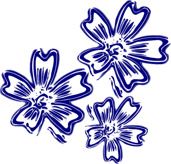 600x575 Navy Flower Clipart Navy Blue Flowers Clip Art At Clker Vector