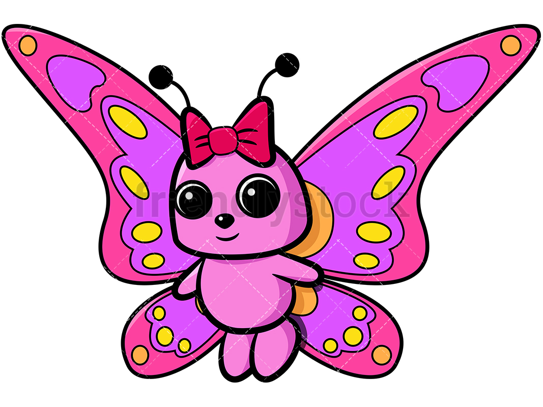 1067x800 Pink Butterfly With Girly Bow Cartoon Vector Clipart