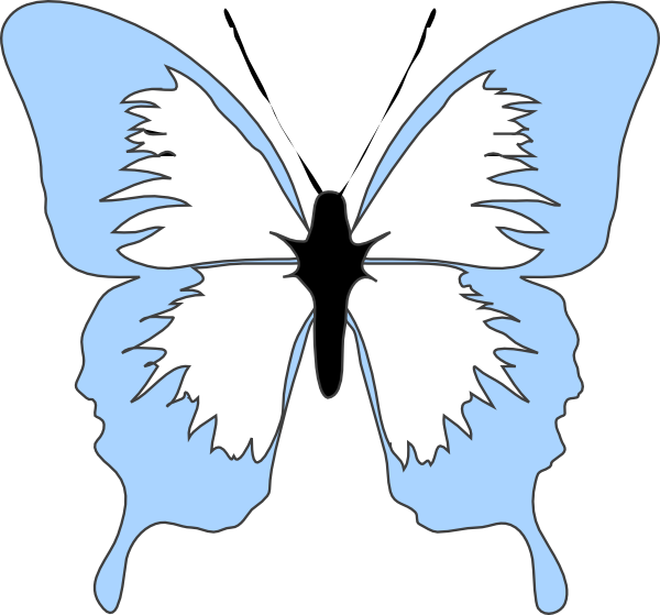 600x559 Blue Butterfly Clip Art