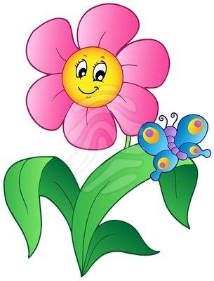 305x400 Flowers And Butterflies Clipart