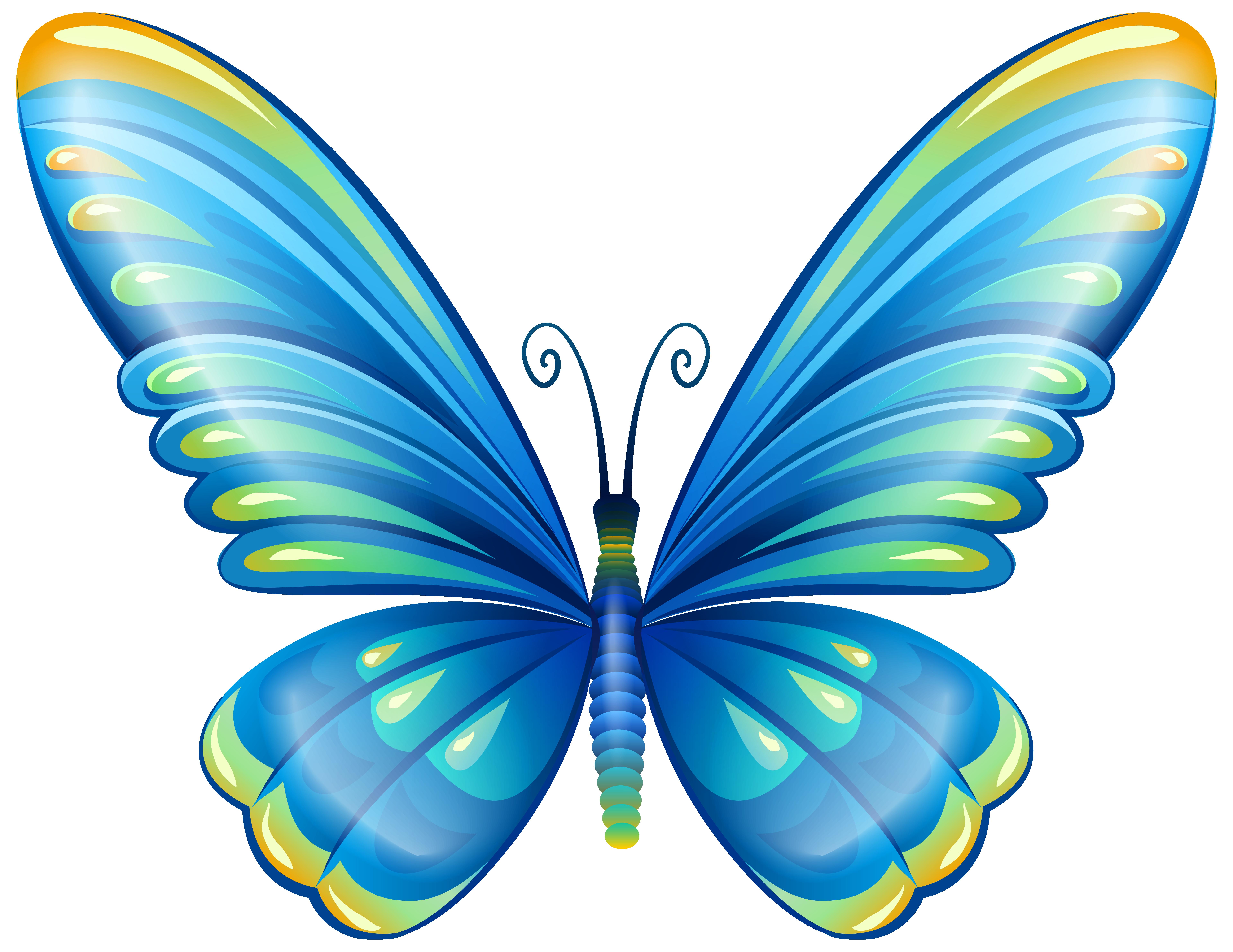 7679x5932 Large Art Blue Butterfly Png Clip Art Imageu200b Gallery