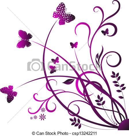 448x470 Swirl Butterfly. Swirling Red Flowers, Plants Contours On