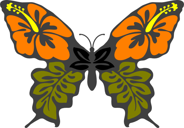600x419 Butterfly Flower Clip Art