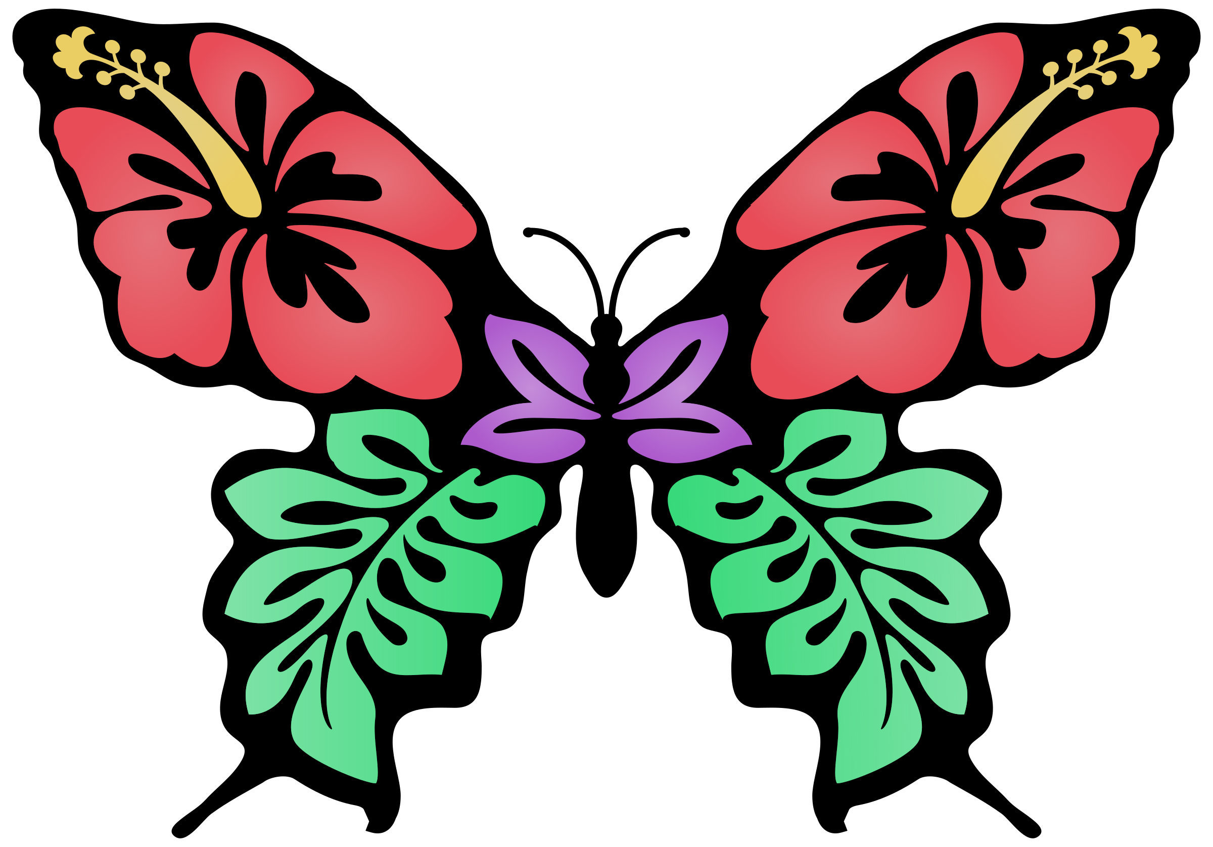 2400x1675 Butterfly Flower Colour Icons Png