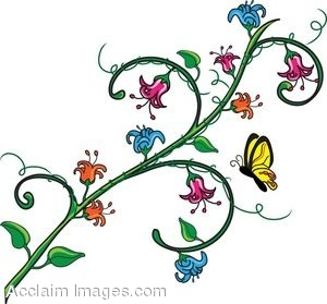 300x279 Clip Art Of A Branch Of Flowers With A Butterfly