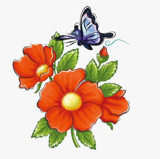 650x645 Flowers And Butterflies, Flowers, Butterfly, Flowers Clipart Png