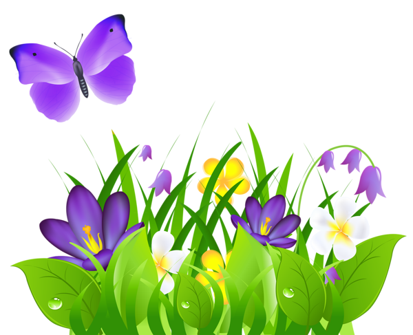 600x487 Purple Flowers Grass And Butterfly Png Clipart Picture Corners