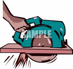 300x284 Royalty Free Clipart Image A Hand Holding A Buzz Saw