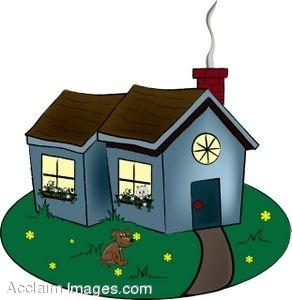 292x300 Clip Art Of A Quaint Cottage