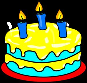 299x285 Yellow Three Candle Cake Clip Art