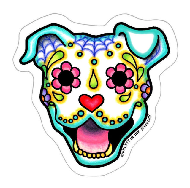 640x634 Day Of The Dead Pit Bull Sticker Sugar Skull Pitbull Dog Decal