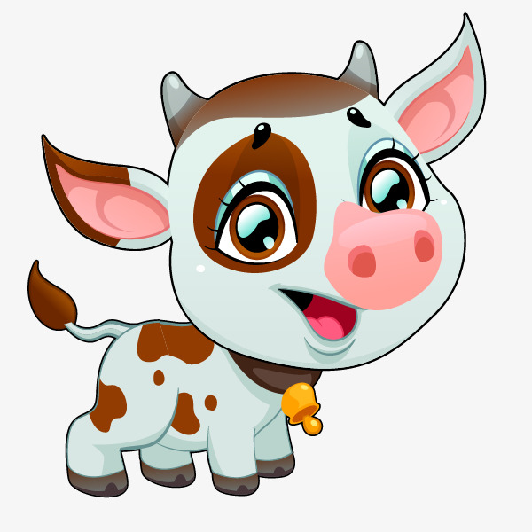 600x600 Cartoon Hand Painted Calves, Cartoon Calf, Cartoon Animals, Hand