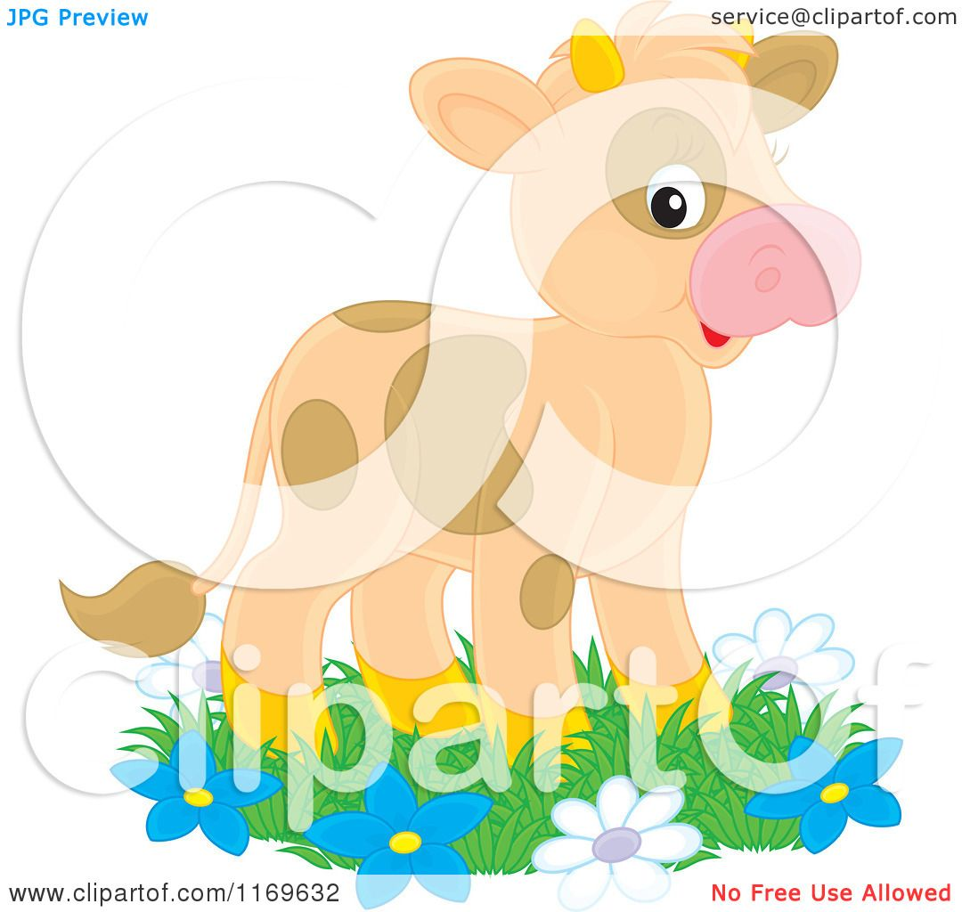 1080x1024 Cartoon Of A Cute Brown Spotted Calf Cow On Grass And Flowers