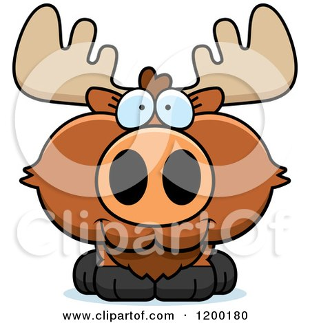450x470 Cartoon Of A Cute Happy Moose Calf