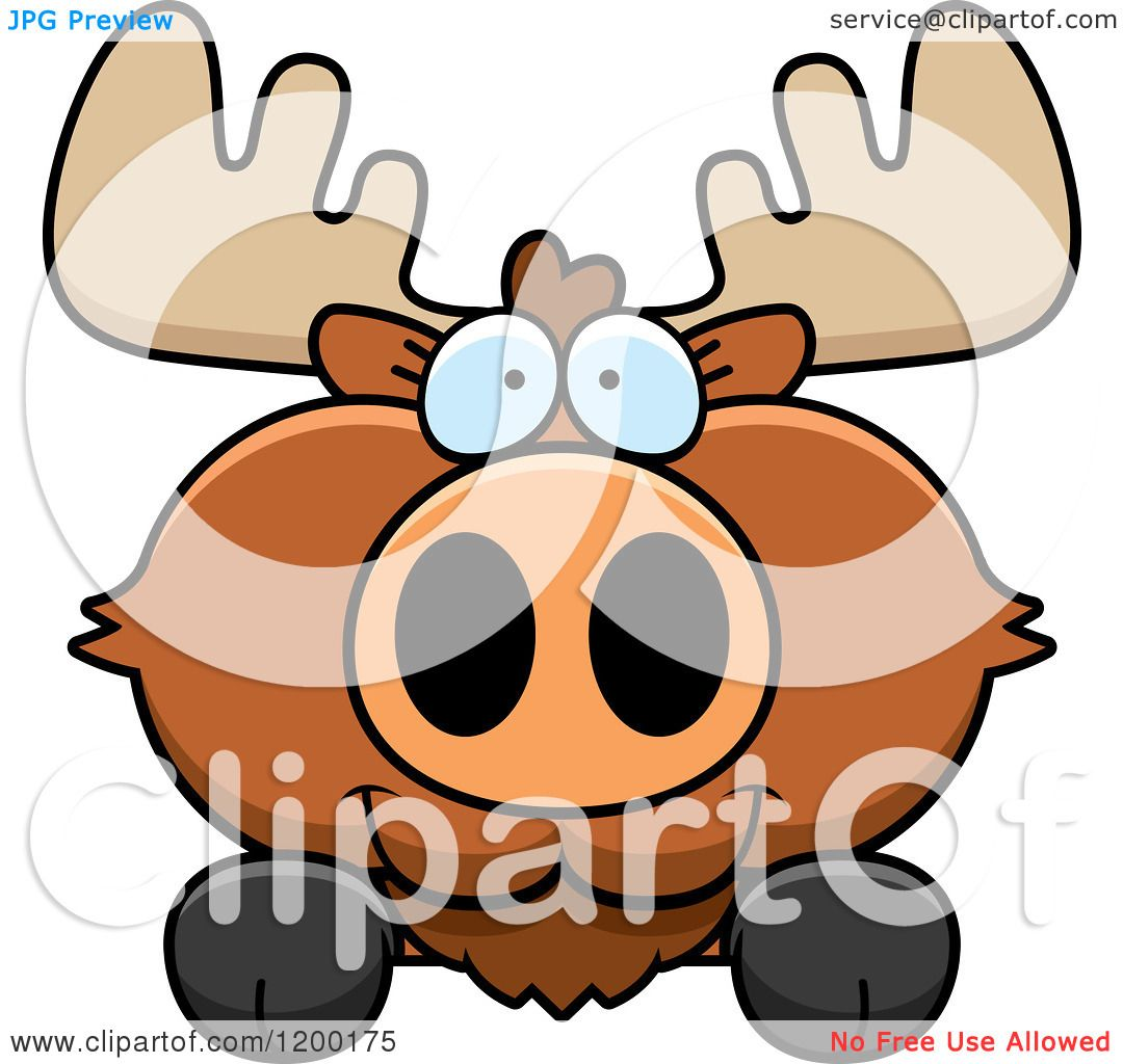 1080x1024 Cartoon Of A Cute Moose Calf Over A Surface Or Sign