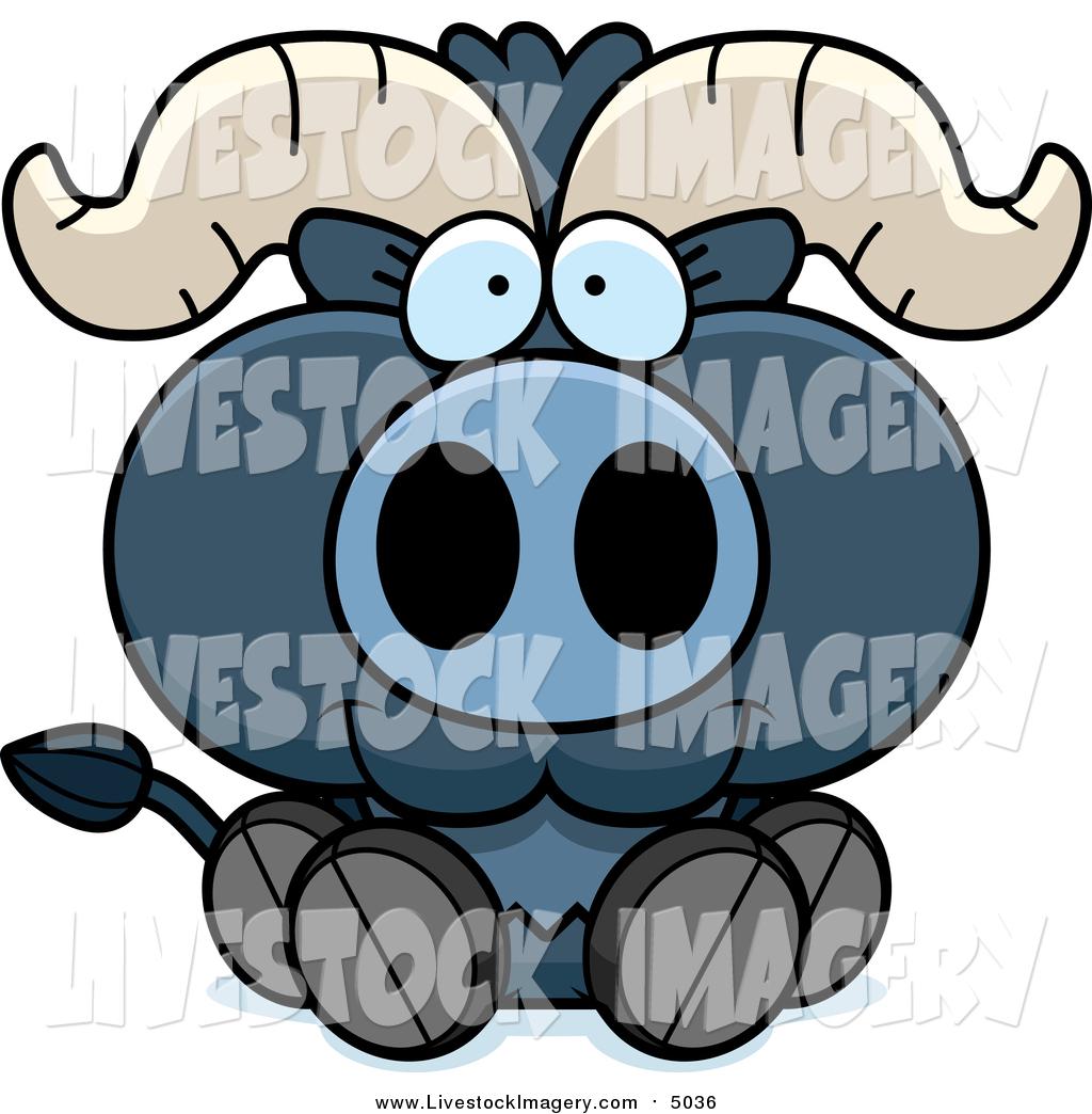 1024x1044 Clip Art Of A Sitting Blue Ox Calf By Cory Thoman