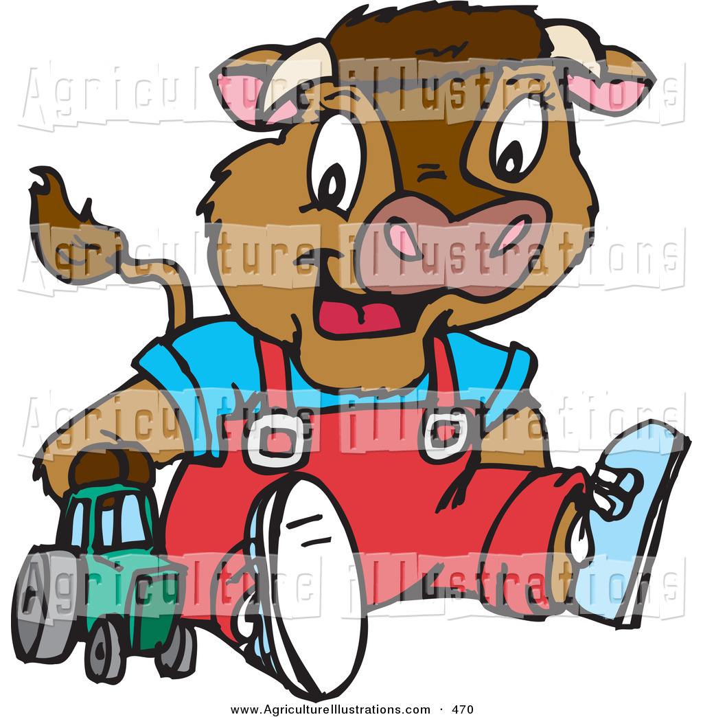1024x1044 Agriculture Clipart Of A Cute Young Brown Calf With Horns, Wearing