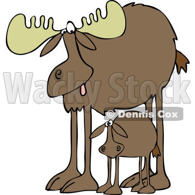 400x400 Clipart Of A Mother Moose And Calf