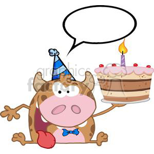 300x300 Royalty Free 3797 Happy Calf Cartoon Character Holds Birthday Cake