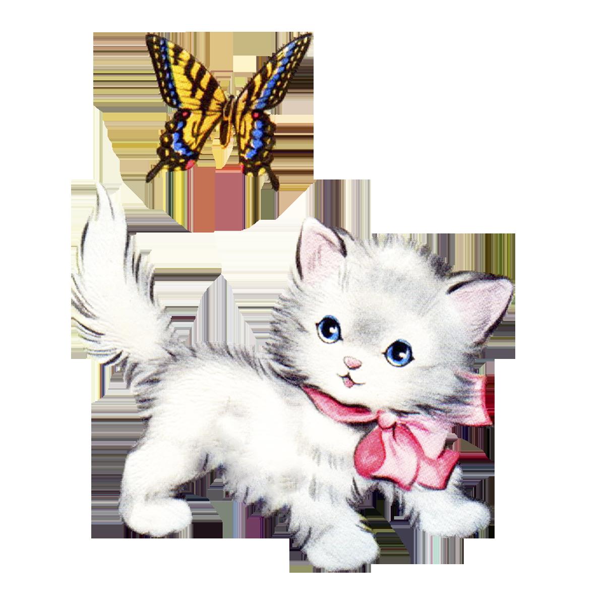 1200x1200 Vintage Kitten Clipart