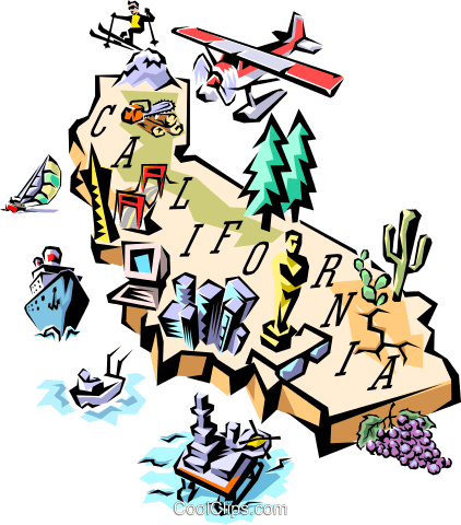 422x480 California Map Royalty Free Vector Clip Art Illustration Worl0096