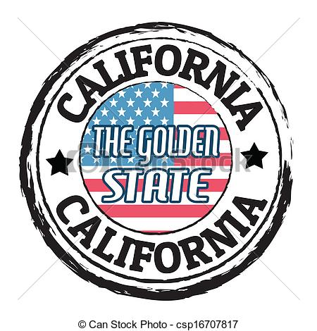450x470 California, The Golden State Stamp. Grunge Rubber Stamp